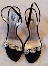Vintag Pelle Moda Slingback Pumps with Elegant Rhinestone Strap and Leather Sole