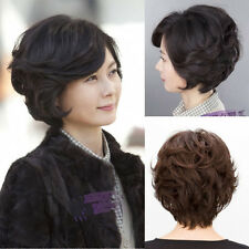 Mom's Daily Natural Costume Hair Short Curly Wavy Full Wig Wig Gift Black/Brown