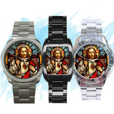 NEW Wrist Watch Stainless Sport Barrel Analogue Jesus Christ Hand Catholic