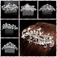 Prom Flower Rhinestone Crystal Pearls Comb Hair Clip Wedding Pin Accessories NEW