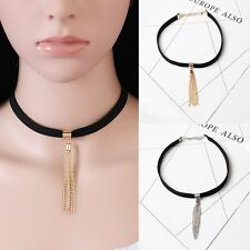 Bib Statement Chunky Chain Collar Choker Necklace Black Velvet Women Jewelry
