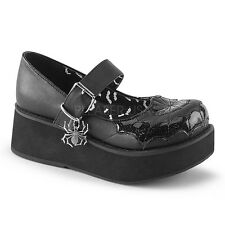 "Gothic Punk Black 2 1/4"" Platform Mary Janes Shoes w/ Spider Web Pattern On Vamp"