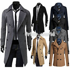 Winter Warm Mens Slim Fit Trench Coat Double Breasted Overcoat Parka Long Jacket