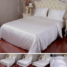 22 Momme 100% Pure Silk Duvet Cover Sheets Pillow Cases Seamless Ivory All Size