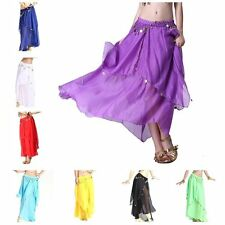 Belly Dance Dress Costume 2 layers Chiffon Spiral Circle Dancing Long Maxi Skirt