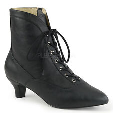 """PLEASER Sexy 2"""" Heel Black Matte Lace Up Ankle High Boots FAB1005/BPU"""
