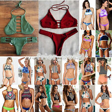 Womens High Neck Push-up 2pcs Bikini Set Beachwear Swimwear Swimsuit Padded Bra