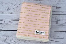 Handmade Personalized Gold Pink Arrow Tribal Minky Baby Receiving Crib Blanket