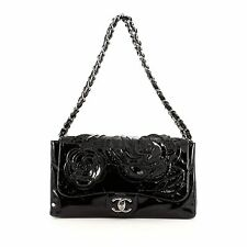 Chanel Tweed Petals Camellia Flap Bag Patent Medium