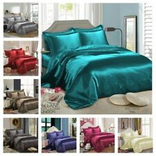 Satin Bedding Sets - Duvet Cover + Fitted Sheet + 4 Pillowcases