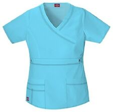 Dickies Scrubs 817355 V Neck Scrub Top Dickies GenFlex Jr Fit Icy Turquoise