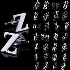 Popular Silver Alphabet Initial Letter Wedding Party Mens Cufflinks Cuff Links