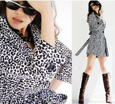 NEW Fashion Leopard Print Trench Parka two-tone pattern Long Coat Jacket Belted
