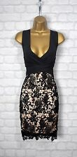 ~LUISA~ Black Lace Floral Bodycon Evening Midi Pencil Wiggle Party Dress 10 12