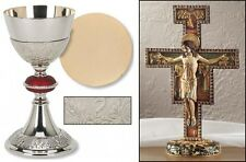 CATHOLIC PRIEST CHALICE PATEN GOLD PLATED and ST FRANCIS CRUCIFIX SAN DAMIANO