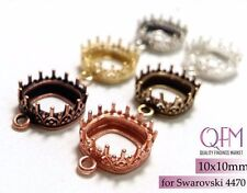 6pcs Rounded Square Bezel Cup10x10mm Brass 1 loop Finishes:Brass, Silver, Copper