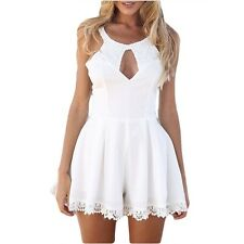 Women Summer Fashion O Neck Lace Clothing Hollow Backless Mini Dress