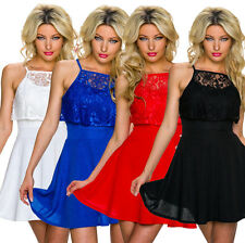 Ladies Midi Evening Cocktail Dress Lace Layer Look Wedding Special Occasion 34