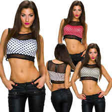 Sexy Ladies Crop Top Shirt Polka Dots Mesh cropped padded Party Club 34 36