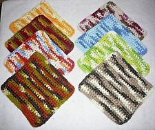 DISHCLOTHS Or WASHCLOTHS~Set Of 3~Crocheted~Reversible~Soft~Cotton~NEW~FREE SHIP