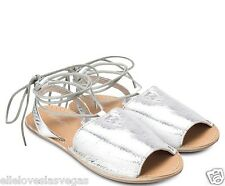 Brand New TOPSHOP SILVER LEATHER TIE ANKLE SANDALS SIZE UK 5,38 7,40