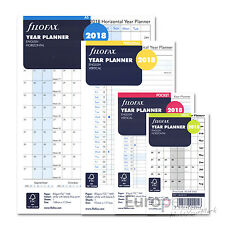 Filofax 2018 Year Planner Diary Refill Insert - All Sizes Available