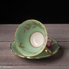 Vintage Foley Mint Green Rose Tea Cup and Saucer Made in England Gold Bone China