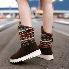 Women Snow Boot Platform Waterproof Ankle Boot Lace Up Fur Short Boot Big Size