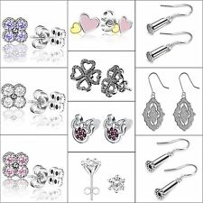 Fashion 925 Silver Ear Stud Crystals Zircon Dangle Hook Earrings 2017 Jewelry