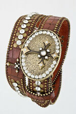 Western LEATHER Bling Belt Cross Crystal Conchos Rhinestone Cowgirl Rodeo S M L