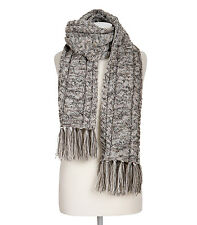 WoolOvers Mens Pure Wool Aran Cable Fringed Winterschal Warm Soft Knit Scarf