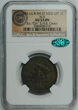 1834 Large Cent Large 8 Small Stars Med. Letters AU53 BN NGC *CAC Verified*