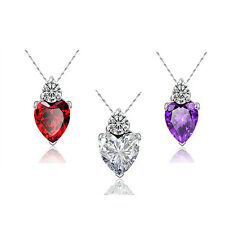 Silver Plated Gift Clavicle Necklace Necklace Pendant Love Heart Crystal