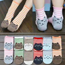 Fashion Womens Sports Casual Cute Cat Striped Ankle High Cotton Socks 1 Pair