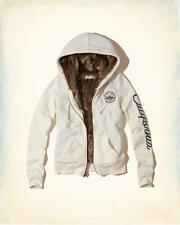 NWT Hollister by Abercrombie Women's Faux Fur Lined Graphic Hoodie Jacket