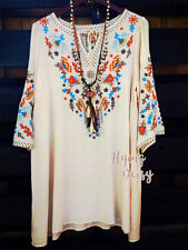 Womens Embroidered Tunic Dress Boho Hippie Tassels Floral Embroidery 70's Vibe
