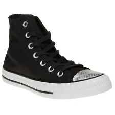New Womens Converse Black Metallic All Star Hi Canvas Trainers Animal Lace Up
