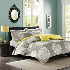 Beatiful Modern Grey Reversible Yellow 4PC Comforter Set Twin Full/Queen Floral