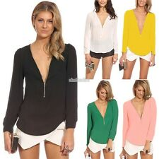Women Leisure Deep V-Neck Long Sleeve Pure Color Loose Blouse Casual Tops SHIRTS