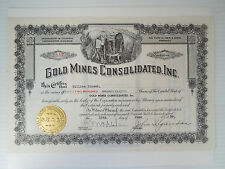 Stock Certificate Gold Mines Consolidated Inc. Colorado Great Graphics Colorado