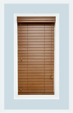 "Custom-Made, Bourbon colored, 2"" Real Wood Horizontal Window Blind, Inside Mount"
