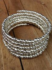 Silver Glass Beaded Bracelet with Adjustable Memory Wire Wrap
