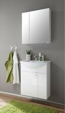 Bathroom Glass White  Mirror Cabinet Vanity Unit With Basin Sink 600 mm.