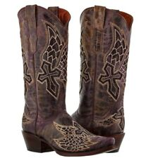 Womens Purple Wings Cross Western Cowboy Cowgirl Leather Boots Rodeo Riding