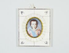 ANTIQUE FRENCH MINIATURE PORTRAIT PAINTING LADY WOMEN 20th Century