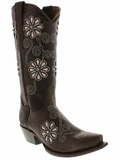 womens brown pink flower inlay rodeo leather wstern cowboy cowgirl boots snip