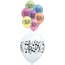 "10 x Qualatex Music Notes 11"" Latex Balloons - Choose White or Neon Assortment"