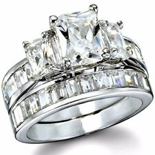 .925 Sterling Silver Wedding Set CZ Engagement Ring Size 4-11 Bridal Ladies New