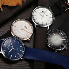 Fashion Unisex Casual Simple Date Leather Strap Analog Quartz Wrist Watch TY