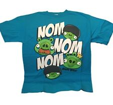 Angry Birds Nom Nom Nom Logo Blue Character Licensed Tee Shirt Adult Sizes NWT